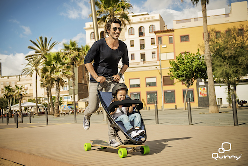 Longboardstroller: the skateboard pushchair by Quinny